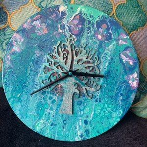 Fluid Art Upcycled Vinyl Record Clock-Tree of Life